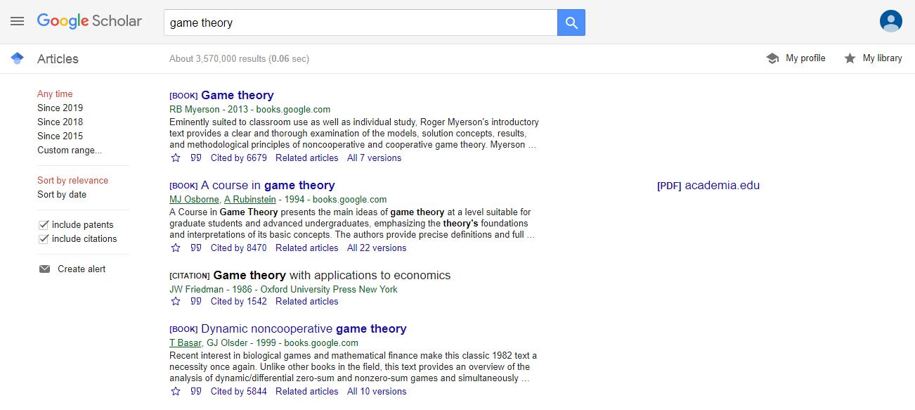 نتایج جستجو شده برای عبارت game theory در گوگل اسکولار